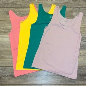 4 CATO CAMIS TANK TOPS SIZE XL/14/16 PINK YELLOW